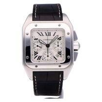 Cartier Santos 100 rabljen 41mm Bjel Kronograf Datum, nadnevak Koza