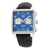TAG Heuer Monaco Calibre 12 pre-owned 39mm Blue Chronograph Date Fold clasp