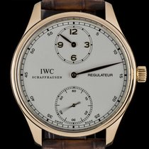 IWC 18k Rose Gold Silver Dial Portuguese Regulateur Gents B&P