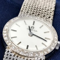 Omega 18 KT WHITE GOLD FACTORY DIAMOND SET WRISTWATCH