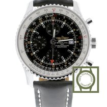 Breitling Navitimer World Black Dial Black Leather Strap...