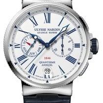 Ulysse Nardin Marine Chronograph 1533-150/E0 Ulysse Nardin Cronografo Acciaio Pelle Blu 43mm new
