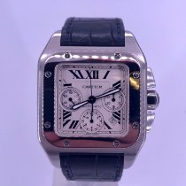 Cartier Santos 100 pre-owned 41mm White Chronograph Date Crocodile skin