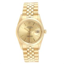Rolex Yellow gold Automatic Champagne 34mm pre-owned Oyster Perpetual Date