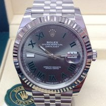 Rolex Datejust Steel 41mm Grey Roman numerals
