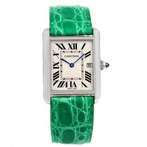 Cartier Tank Louis Large White Gold Green Strap Unisex Watch...