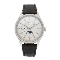 Zenith Captain Moonphase pre-owned 40mm Silver Moon phase Date Crocodile skin