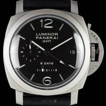 Panerai Luminor 1950 8 Days GMT gebraucht 44mm Schwarz Datum GMT/Zweite Zeitzone Leder