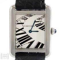 Cartier Uhr Tank Solo Edelstahl Faltschliesse Silver Piano...