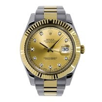 Rolex DATEJUST II 41mm Yellow Gold Champagne Diamond Dial 116333