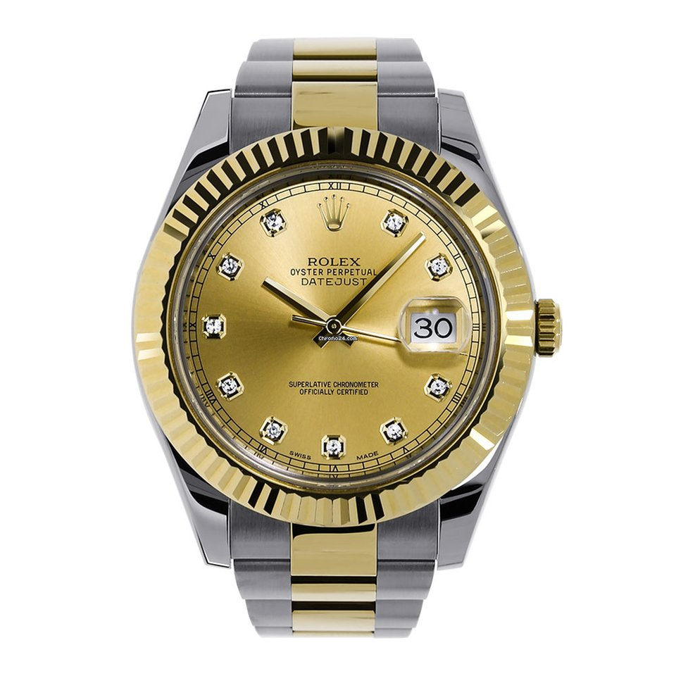 eb85651d4d7 Rolex Datejust II 41mm Yellow Gold Champagne Diamond Dial 116333 for  $13,999 for sale from a Trusted Seller on Chrono24