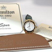 Hamilton Or jaune Remontage manuel Blanc Sans chiffres 30mm nouveau