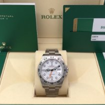 Rolex Steel Automatic White No numerals 42mm pre-owned Explorer II