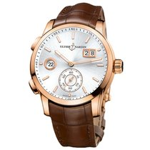 Ulysse Nardin Dual Time Yellow gold 42mm Silver No numerals