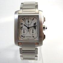 Cartier Tank Française gebraucht 36mm Weiß Chronograph Ewiger Kalender Stahl