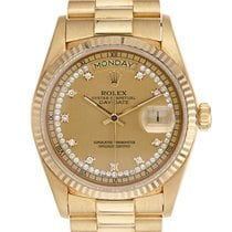Rolex 18k Day-Date Original Diamond String Dial Ref: 18038