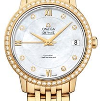 Omega Yellow gold Automatic Mother of pearl 32.7mm new De Ville Prestige