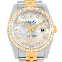 Rolex Datejust Steel Yellow Gold Mop Diamond 36mm Watch 116243