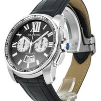 Cartier Calibre Chronograph Black Leather AutoMen Watch...