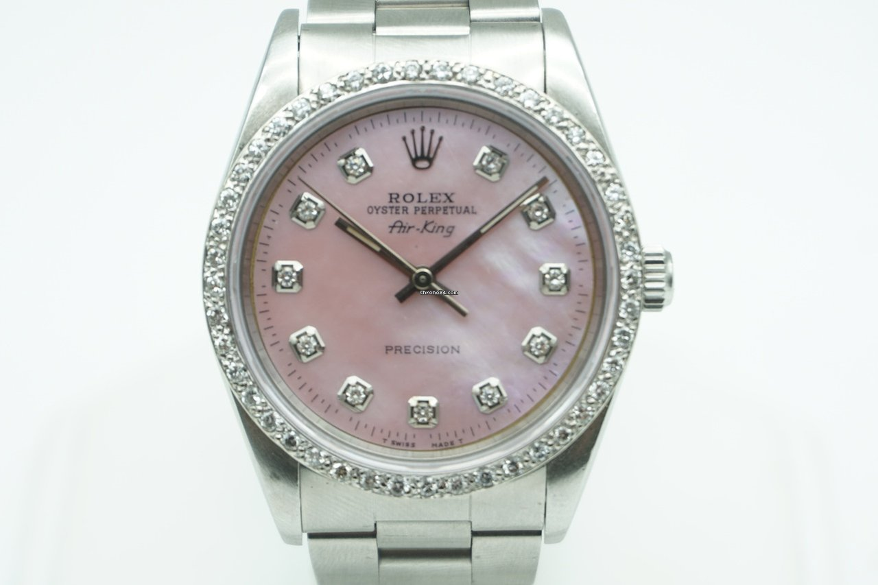 5e92fb90680 Rolex Air King Precision Pink Mother of Pearl Diamond Dial  ... for ...