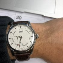 Oris Artelier Small Second pre-owned 42mm Silver Date Weekday Leather