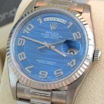 Rolex Day-Date 36 Witgoud 36mm Blauw Arabisch