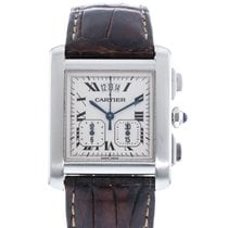 Cartier Tank Française pre-owned 28mm Silver Date Leather