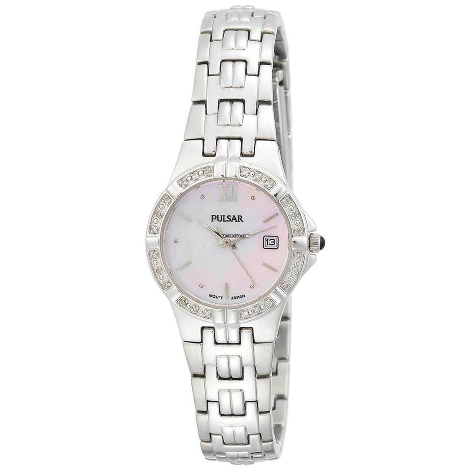 Pulsar PXT703 Women's Pink Mother Of Pearl Dial Diamond Accented Bezel Steel Bracelet Watch