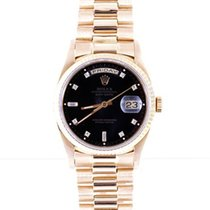 Rolex 18K Gold President Black 8+2 Diamond Dial