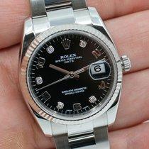 Rolex Datejust Stahl 34mm Schwarz Arabisch Schweiz, Wollerau