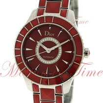 Dior Christal Staal 38mm Rood Geen cijfers