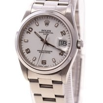Rolex Oyster Perpetual Date Steel White Arabic Dial