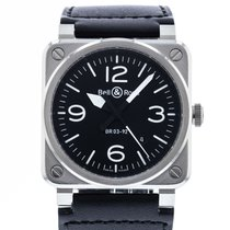 Bell & Ross BR 03-92 Steel pre-owned 42mm Black Date Leather