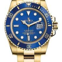 Rolex Submariner Blue Index Dial 18k Yellow Gold 116618LB