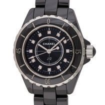 Chanel : J12 Unisex 33mm :  H1625 :  Black Ceramic