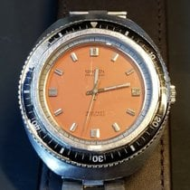 Gruen 70 's Diving 1500 ft Diver Orange Dial Submariner Watch