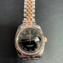 Rolex Datejust подержанные 36mm Чёрный Дата Золото/Сталь