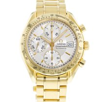 Omega Yellow gold Automatic Silver 39mm pre-owned Speedmaster Date