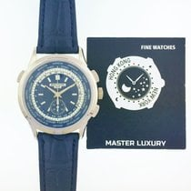 Patek Philippe World Time Chronograph White gold 39.5mm Blue No numerals United States of America, New York, NEW YORK