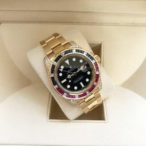 Rolex Yellow gold Automatic Black No numerals 40mm pre-owned GMT-Master II