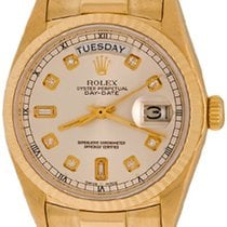 Rolex Yellow gold Automatic Silver No numerals 35mm pre-owned Day-Date 36