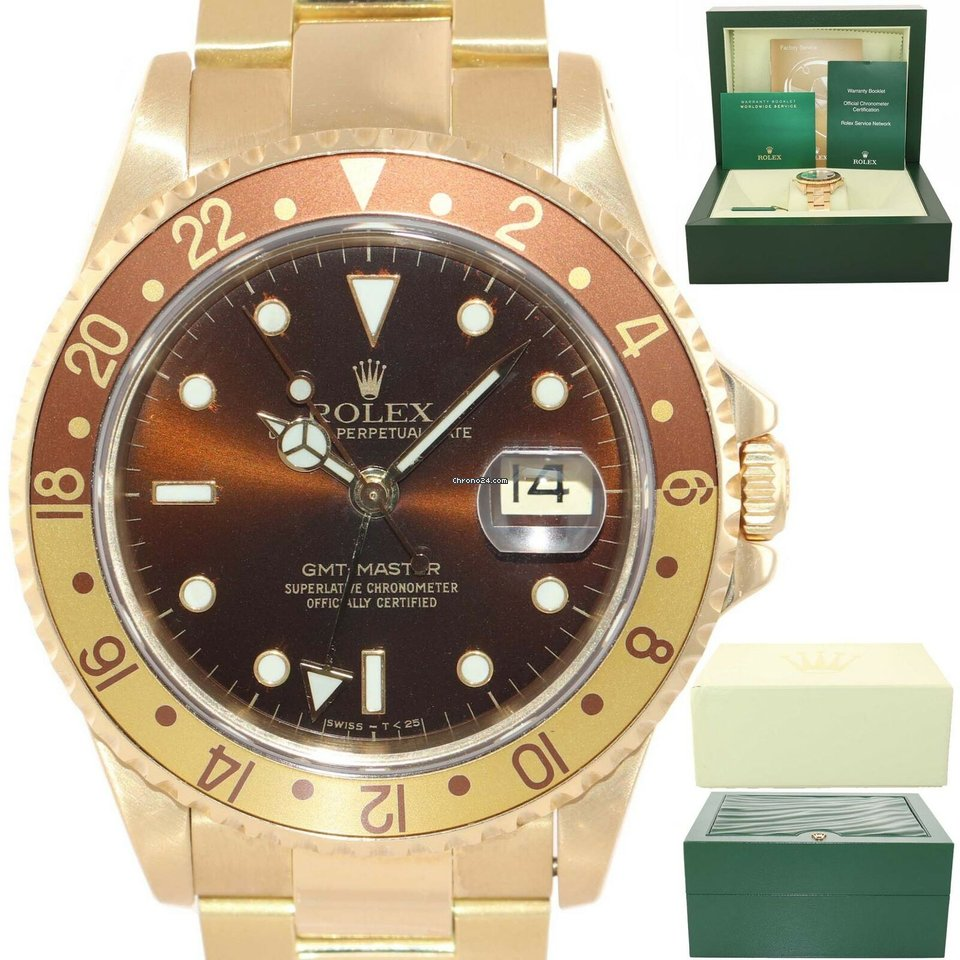 new product 0fa9c 55259 Rolex Root Beer 16718 18k Yellow Gold Oyster Band Brown Dial Watch Box  116718