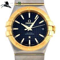 Omega Constellation Ladies gebraucht 35mm Schwarz Gold/Stahl