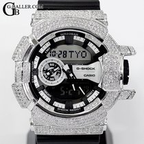 Casio Silber Quarz Schwarz Arabisch 55mm neu G-Shock