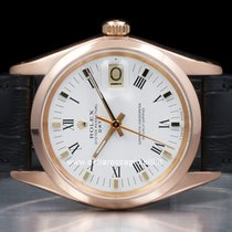 Rolex Rose gold Automatic White Roman numerals 34mm pre-owned Oyster Perpetual Date