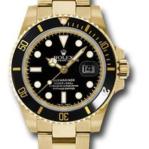 Rolex Yellow gold Automatic Black No numerals 40mm new Submariner Date