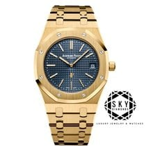 Audemars Piguet Royal Oak Jumbo Gulguld 39mm Blå
