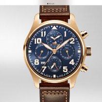 IWC Красное золото Механические Синий Aрабские 43mm новые Pilot Chronograph