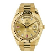 Rolex DAY-DATE II 41mm 18K Yellow Gold Ruby Diamond Dial