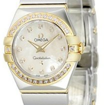 Omega Constellation Quartz 24MM Diamonds WHT MOP Dial Watch...